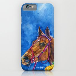 Secretariat Painting, Large Race Horse Watercolor Art iPhone Case