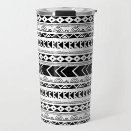 Geometrical tribal black white shapes pattern Travel Mug
