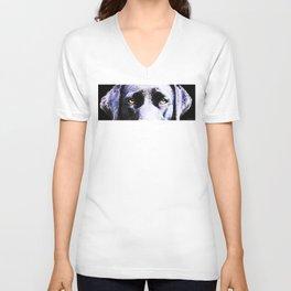 Black Labrador Retriever Dog Art - Lab Eyes Unisex V-Neck