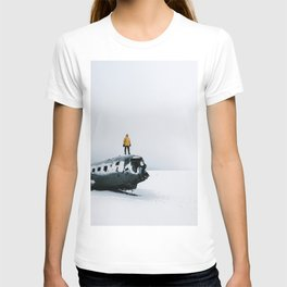 Plane wreck in Iceland with person - Landscape Photography T-shirt