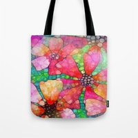 stained glass Tote Bags featuring Stained Glass by 2dayspic