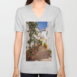 Charming cobblestone street in the whitewashed town of Tavira, Portugal Unisex V-Neck