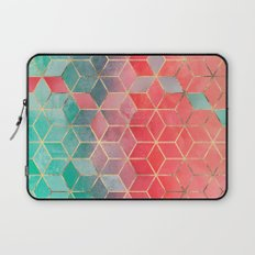 Rose And Turquoise Cubes Laptop Sleeve