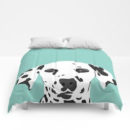 Dalmatian cute puppy dog black and white mint pastel gender neutral pet owner gifts love animals Comforters