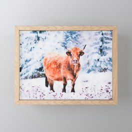 Red cow in a snowy background watercolor painting Framed Mini Art Print