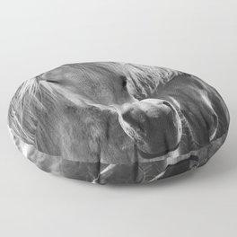 Horses - Black & White 7 Floor Pillow