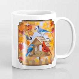 Autumn Bird Feeder Gathering Coffee Mug