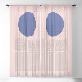 Abstraction_BLUE_SUN_LINE_POP_ART_Minimalism_0991A Sheer Curtain