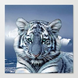 Blue White Tiger Canvas Print
