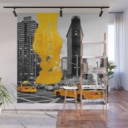 NYC Yellow Cabs - Flat Iron Bldg - Brush Stroke Wall Mural