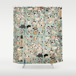 Ukiyo-e Cats by Utagawa Kuniyoshi (1798-1861) Shower Curtain
