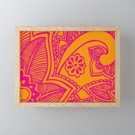 Floral Pattern | Pink and Orange Framed Mini Art Print