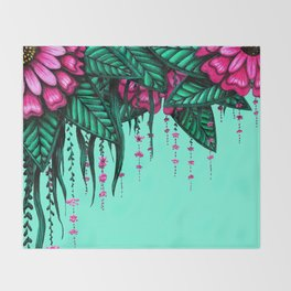 Beautiful Bold Pink Green Delicate Hanging Flowers Throw Blanket