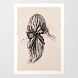 Black bow hairstyle Art Print