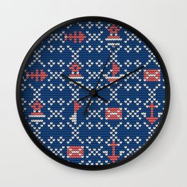 Grandma's knitting pattern for Saylor's Ugly sweater #2 Wall Clock