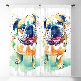 Watercolor Bulldog Blackout Curtain