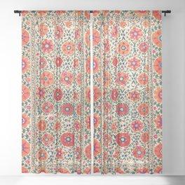 Kermina Suzani Uzbekistan Embroidery Print Sheer Curtain
