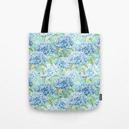 Blue floral hydrangea flower flowers Vintage watercolor pattern Tote Bag