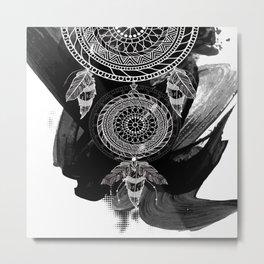 Tribal Black Watercolor Feather Boho Design Metal Print