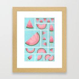 Watermelon Grids Framed Art Print