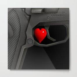 Wait! Guns, firearms power Metal Print