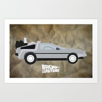 delorean Art Prints featuring The DeLorean by JustJoshinMagic