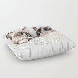 Grumpy Watercolor Cats Floor Pillow