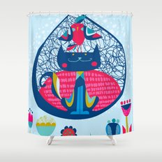 HUNGRY CAT & LITTLE BIRDIE Shower Curtain