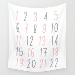 Numbers - Pink Wall Tapestry