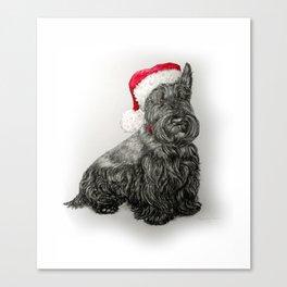 Santa Scottie Dog Canvas Print