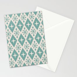 Mid Century Modern Atomic Triangle Pattern 710 Green and Beige Stationery Cards