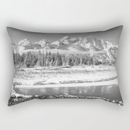 Grand Teton Winter Black & Winter Wyoming National Park Mountain Landscape Rectangular Pillow