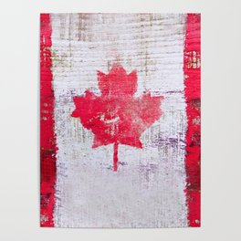 Canadian Flag Painting Tote Bag Abstract Maple Leaf Canada Poster