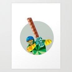 Cricket Player Batsman Batting Low Polygon Art Print