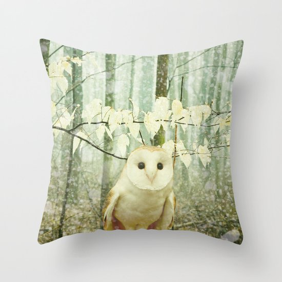 Winter Owl Throw Pillow