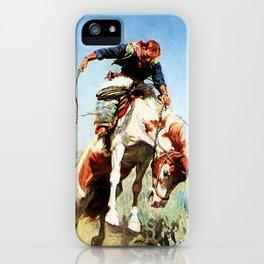 """Bronco Rider"" Western Art by W Herbert Dunton iPhone Case"