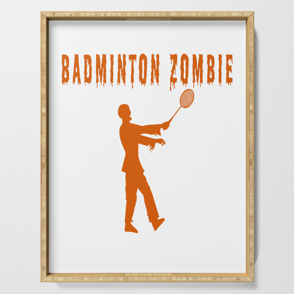 Funny Halloween Badminton Zombie Serving Tray by desteesigners