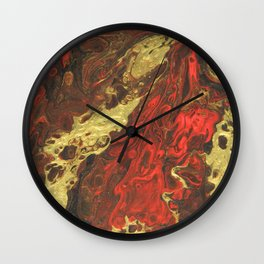 Golden Waves, abstract pouring acrylic Wall Clock