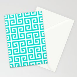 Tropical Turquoise and White Greek Key Pattern Stationery Cards
