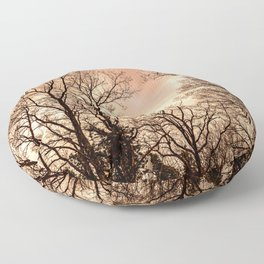The haunting woods, orange and black Floor Pillow
