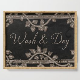 Wash and Dry Laundry Sign Serving Tray