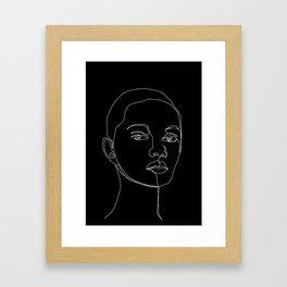 Face one line black and white illustration - Cody Framed Art Print