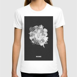 Rome, Italy Black and White Skyround / Skyline Watercolor Painting (Inverted Version) T-shirt