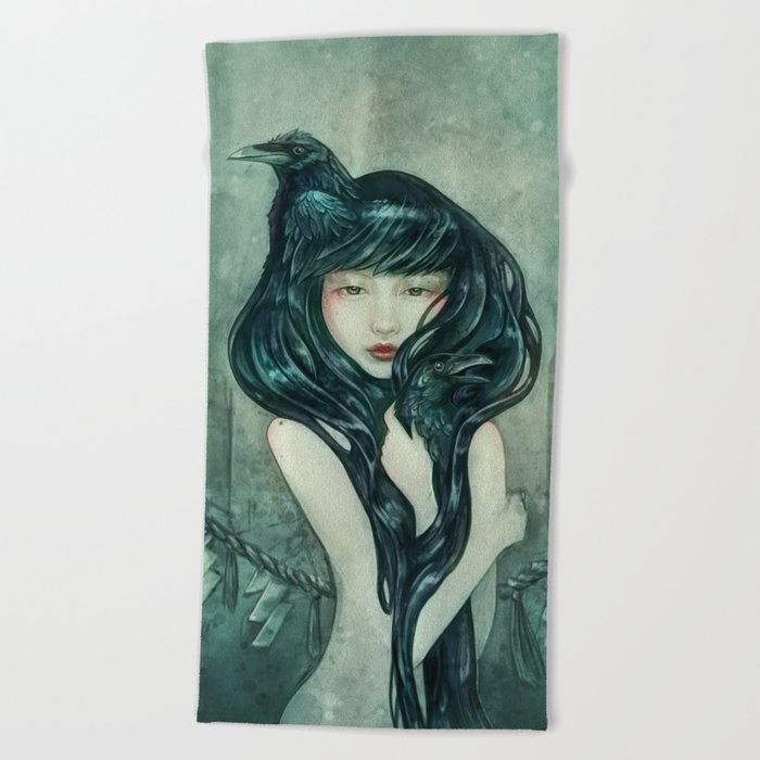 Oracle of the sodden raven Beach Towel
