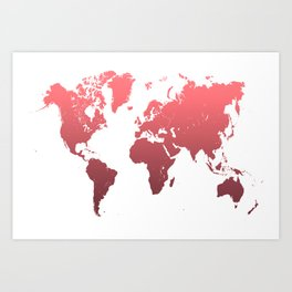 World Map Abstract. Pink Art Print