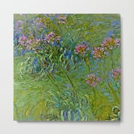 "Claude Monet ""Agapanthus Flowers"" Metal Print"