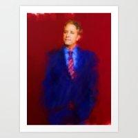 jon contino Art Prints featuring jon stewart  by janice maclellan