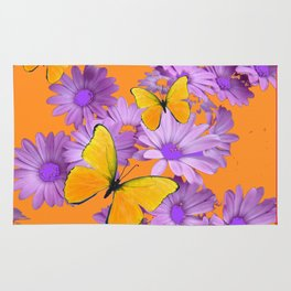Red-Orange Yellow Butterflies Lilac Color Purple Daisies Rug