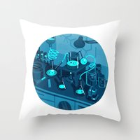 lab Throw Pillows featuring The Lab by Jason Solo