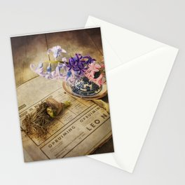 Still Life- Hyacinths and Old Newspaper Stationery Cards
